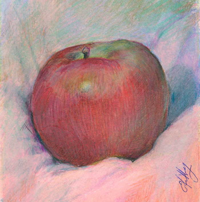 Colored Pencil Apple